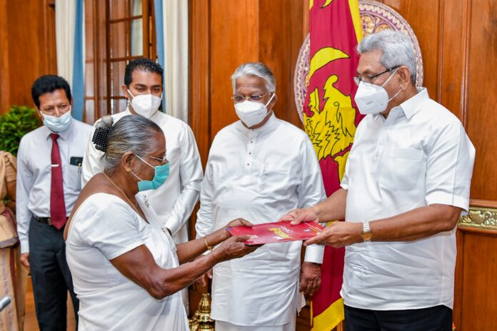 Families possessing government lands without ownership receive grants under President's patronage