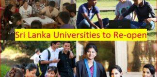 Sri Lanka Universities to Re Open
