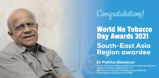 Dr Palitha Abeykoon wins the South-East Asia Region WHO World No Tobacco Day 2021 award