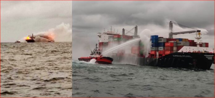 Navy assists dousing of fire onboard container ship in anchorage off Colombo harbour