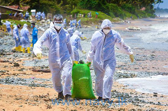 Sri Lanka faces marine disaster as waves of plastic from burning MV X-Press Pearl ship wash ashore