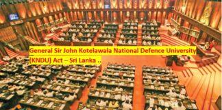 Proposed Kotelawala Defence University KNDU Bill Act Sri Lanka News