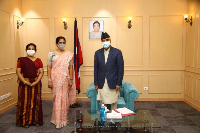 Prime Minister Mahinda Rajapaksa congratulates newly appointed Nepali Prime Minister Sher Bahadur Deuba