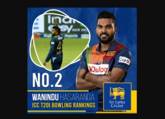 Wanindu Hasaranga has moved up one slot to a career-best 2nd place in the ICC Men's T20I Player Rankings
