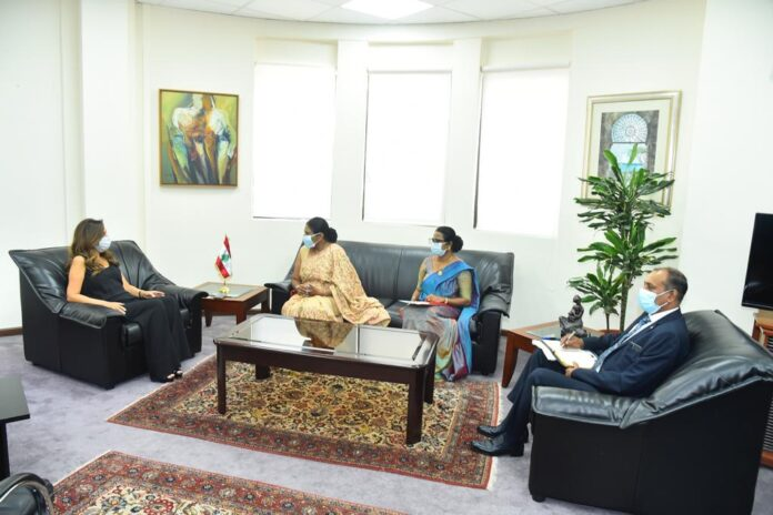 Courtesy call on Deputy Prime Minister Foreign and Defense Minister of the Republic of Lebanon Zeina Akar by the Ambassador of Sri Lanka
