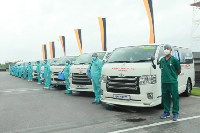 10 special vehicles with medical teams of the Sri Lanka Army Medical Corps