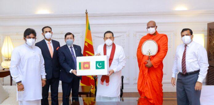 High Commissioner of Pakistan to Sri Lanka Major General Muhammad Saad Khattak hand over lifesaving medical equipment
