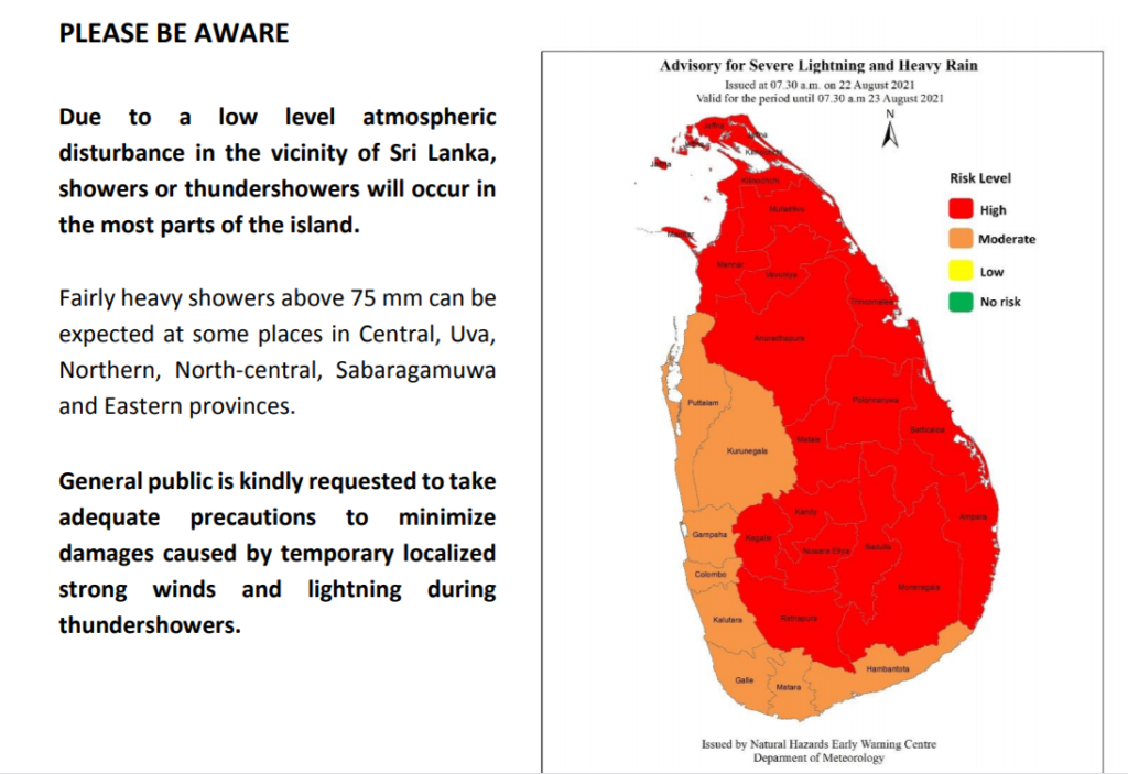 Showers or thundershowers occur in most parts of Sri Lanka