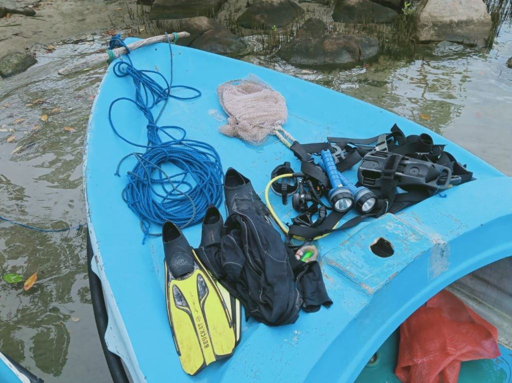 night diving without license to catch fish, illegal harvesting of sea cucumber by diving, practicing light-coarse fishing and explosive fishing.