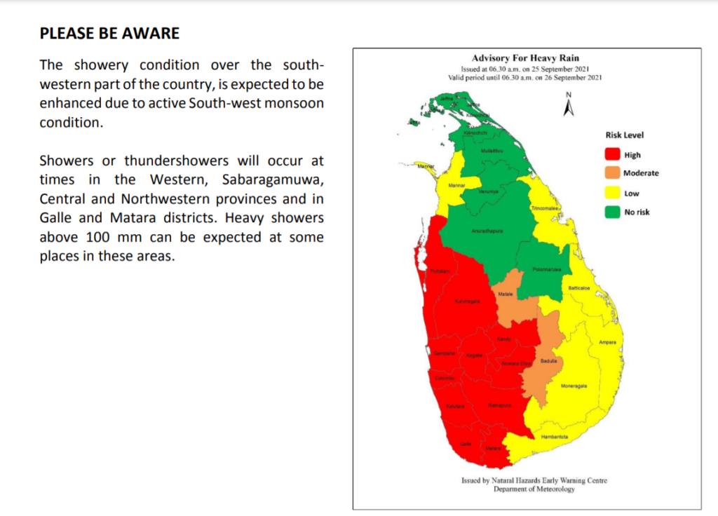 Advisory for Heavy Rain - Issued by the Natural Hazards Early Warning Centre Sri Lanka